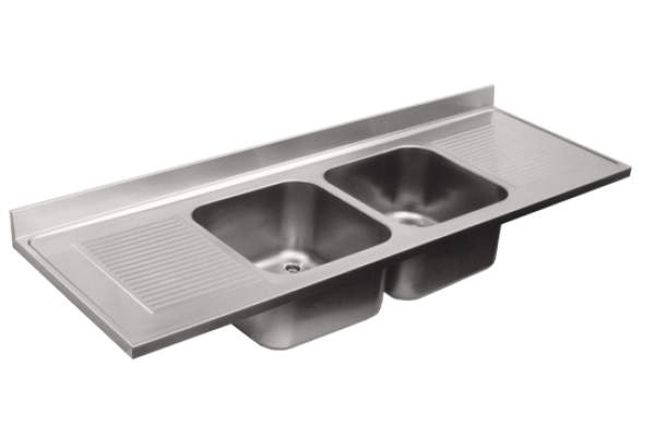 Sink top with two bowls and two draining boards